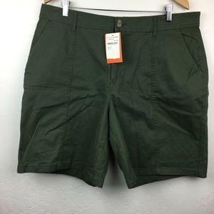 Joe Fresh Twill Shorts Army Green Stretch Pockets